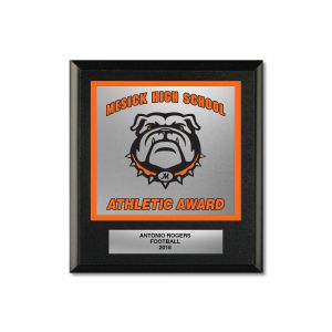 "6"" X 6-3/4"" 2 Color Silk Screened Mascot Plaques"