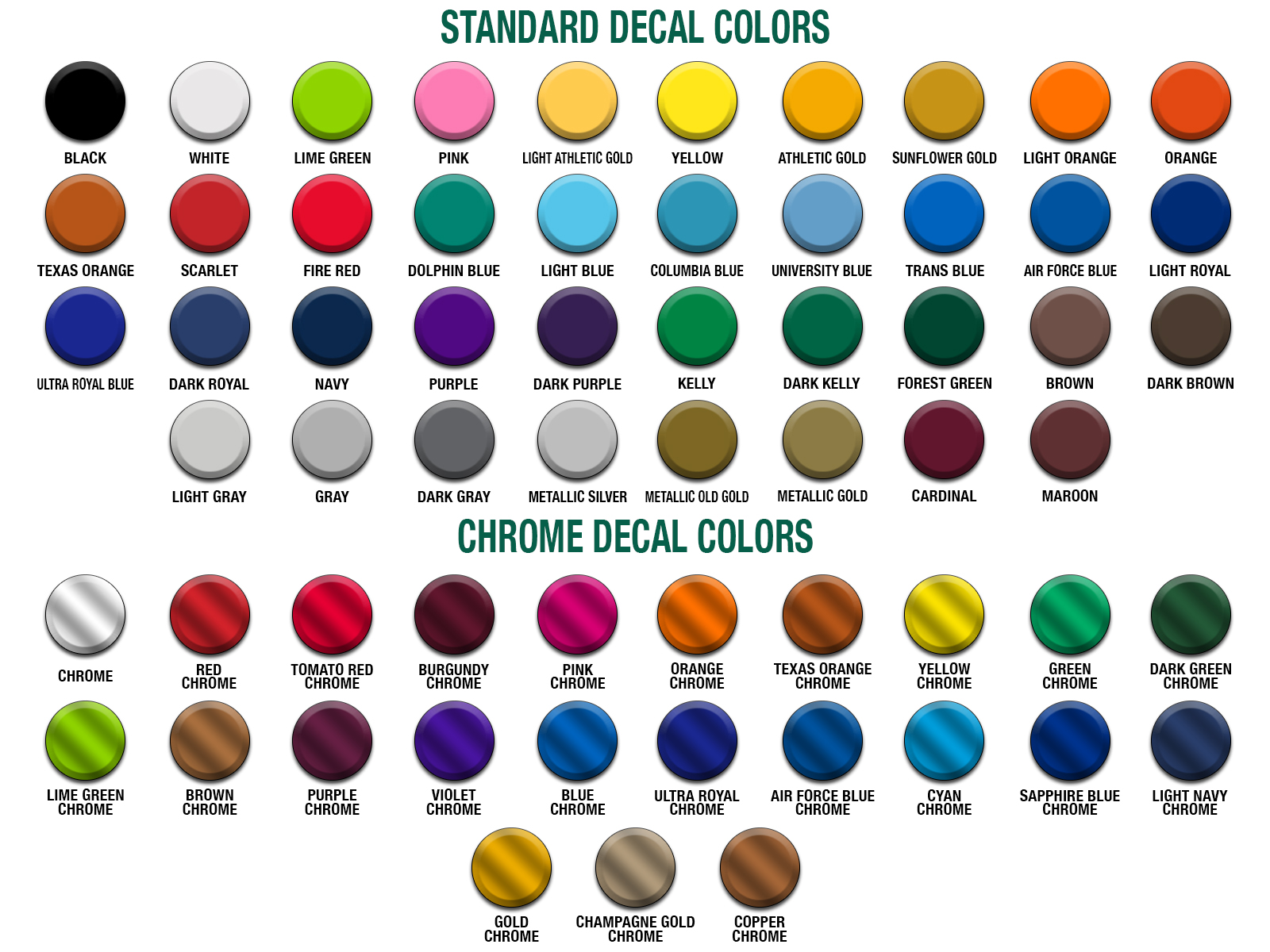 Healy Awards Helmet Decal Color Chart